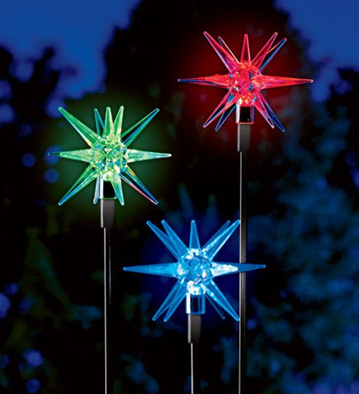 Fancy star shaped colorful solar lights.