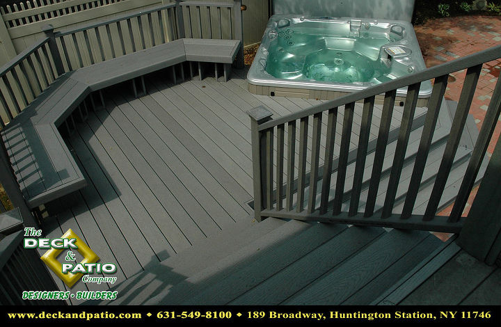 Trex deck, stairs and bench with a Bullfrog Spa
