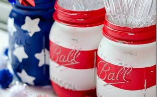 4 minute 4th of july decorations, patriotic decor ideas, seasonal holiday d cor, Use painter s tape and star stencils to create a makeshift American flag from mason jars