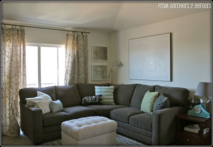 ballard ottoman knock off outdated ottoman rehab w drop cloth tufting tutorial, painted furniture, reupholster