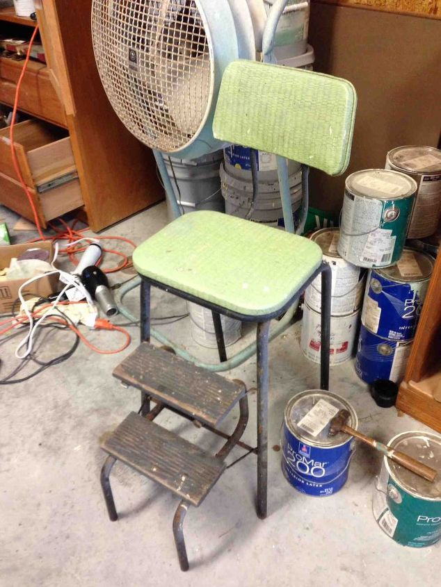 old kitchen stool, chalk paint, painting, repurposing upcycling, Before 2 purchase
