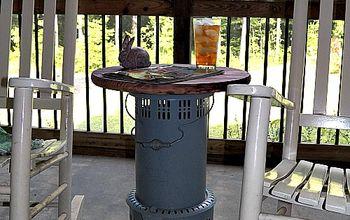 vintage kerosene heater table, hvac, outdoor furniture, outdoor living, painted furniture, repurposing upcycling