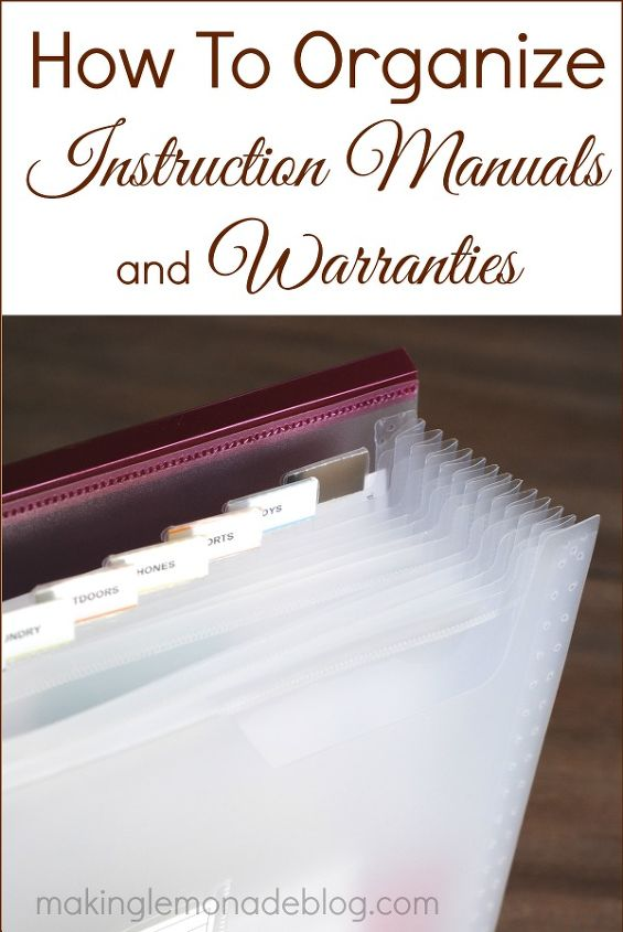 must read tip how to organize product manuals and warranties, organizing, Instruction manuals directions and warranty sheets take up a bulk of my paper pile What s worse is that moment when something breaks or malfunctions and I need to search through a pile of old papers just to find information