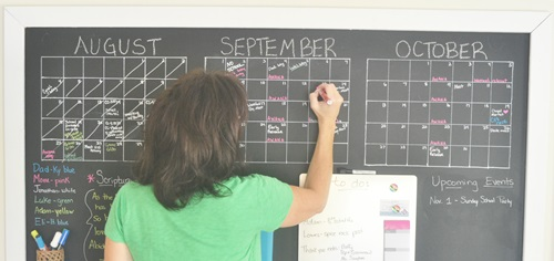 I made three calendar grids to help me stay organized.