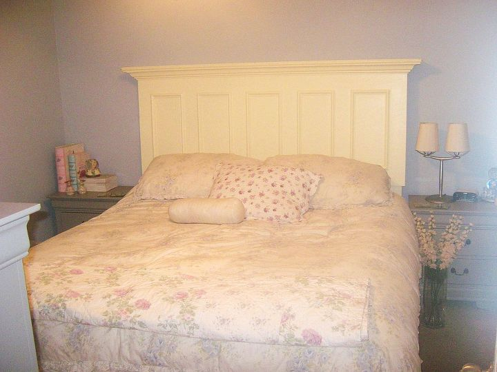Here's what it looked like after the Customer attached our headboard to her metal bed frame.  Thank you again for the business!