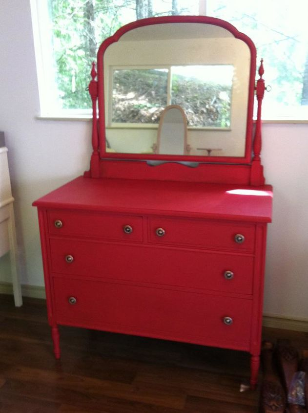 stunning red dresser, painted furniture, After