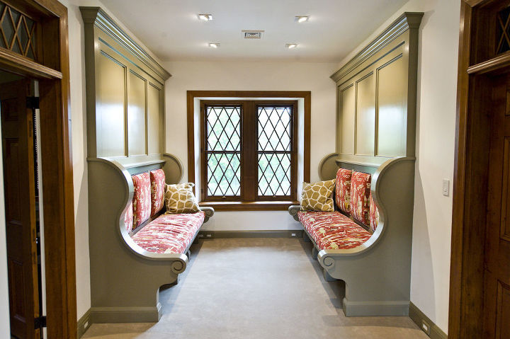 2nd floor hallway turned into a reading nook with custom Inglenook benches.
