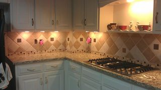 q misery loves company diy not going as expected, kitchen backsplash, tiling, Went with a more random design