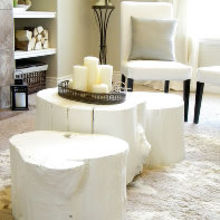 tree stump coffee table, diy, how to, painted furniture, Tree stumps after