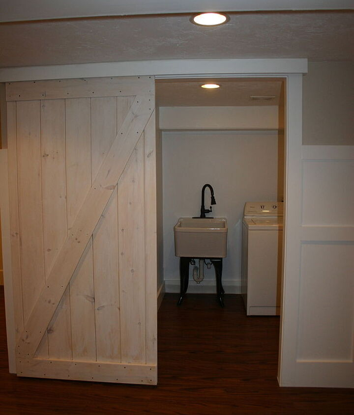 barn door using a closet track, diy, doors, woodworking projects