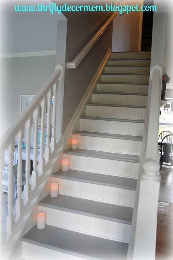 Stairs Updated With Paint Amp Beadboard Hometalk
