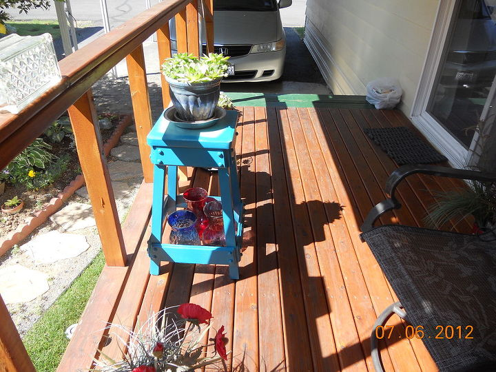 q my project with blue paint the i dont care howit turns out attitude, outdoor living, painting, the 1 dollar stool