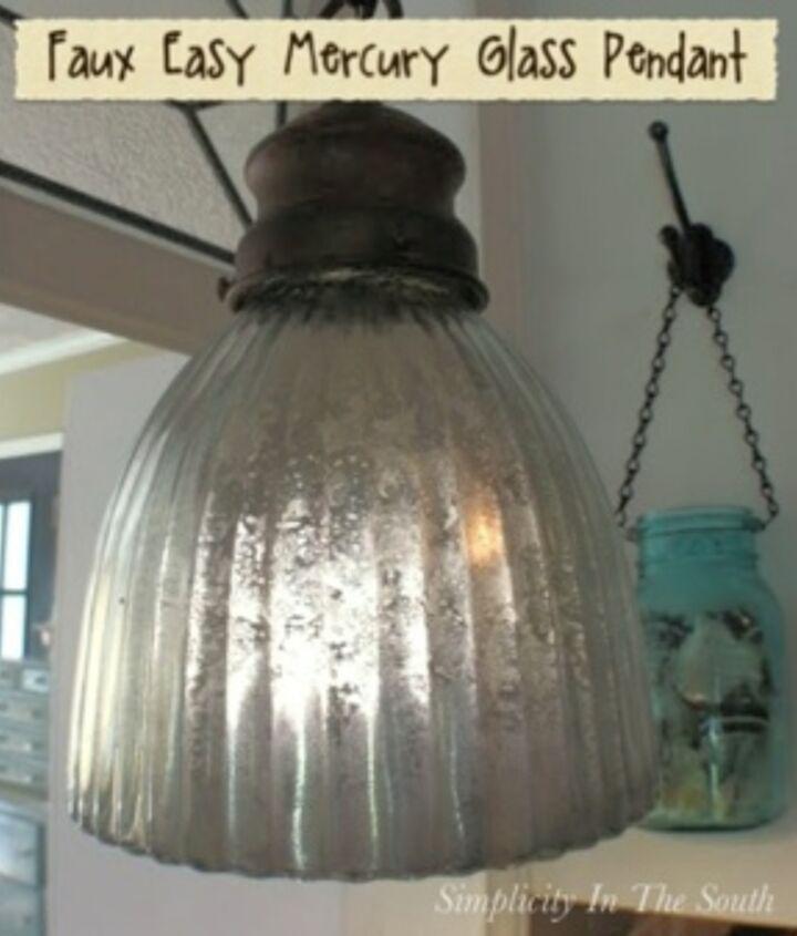 faux mercury glass light pendant using krylon s looking glass spray paint, lighting, painting
