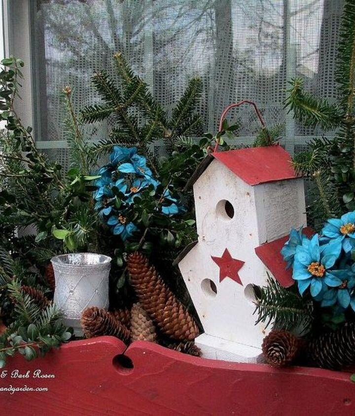 kitchen winter window box ~ fresh greens, a birdhouse, a candle and a touch of blue. http://pinterest.com/barbrosen/