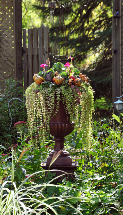 Here my garden urn in late fall. I have inserted several cabbages and have added a few floral picks.
