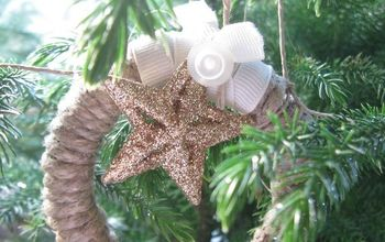 Twine Wreath Ornaments...Mason jar lids repurposed...