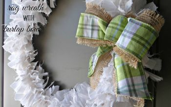 Simple Rag Wreath With Burlap Ribbon
