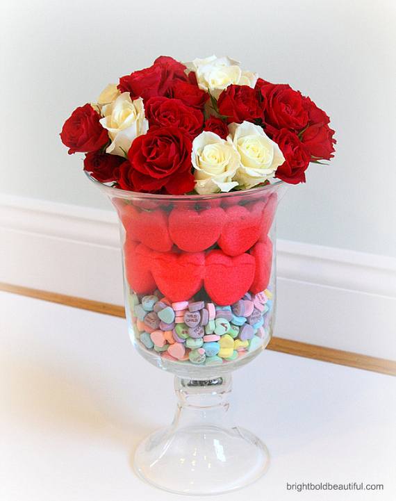What you need: a small glass and a large glass hurricane red and white roses, red heart peeps and sweetheart candy