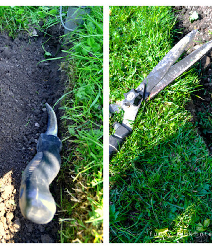 how to edge flower beds like a pro, flowers, gardening, Once the cut is made trench out the soil with a hand held garden shovel and mound it away from the edge Trim the grass along the edge horizontally and vertically to get that nice crisp haircut look