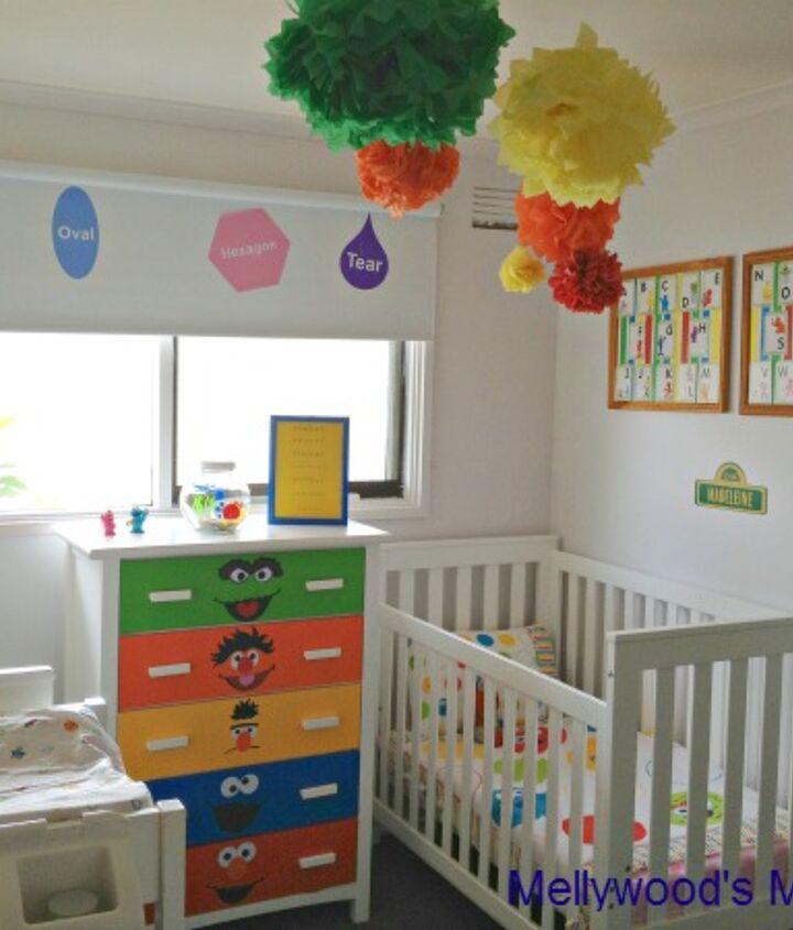Sesame Street Themed nursery for a boy/girl shared room.
