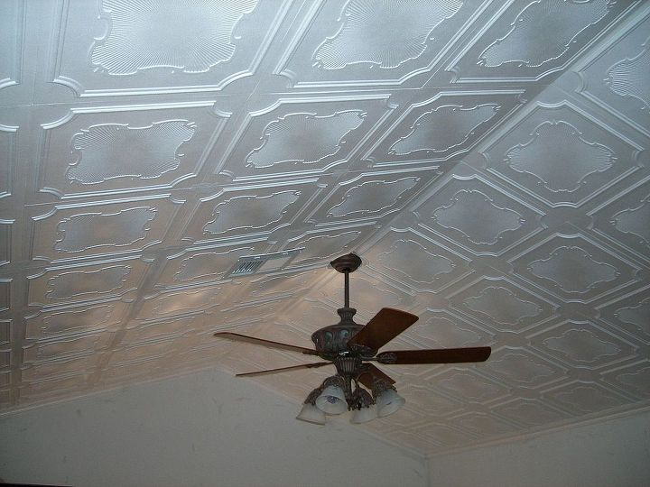 Ceiling Tile By Us Customer's DIY project installed Design R-74. www.ceilingtilesbyus.com