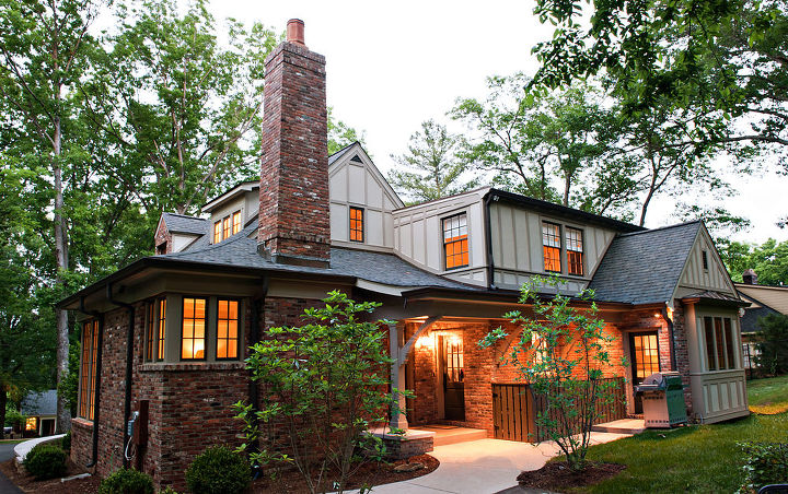The rear of our Tudor Revival remodel is as welcoming as the front!