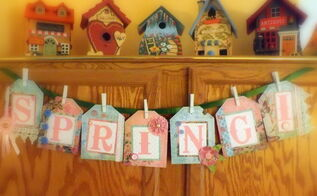 vintage spring banner, crafts, seasonal holiday decor
