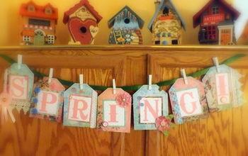 vintage spring banner, crafts, seasonal holiday decor