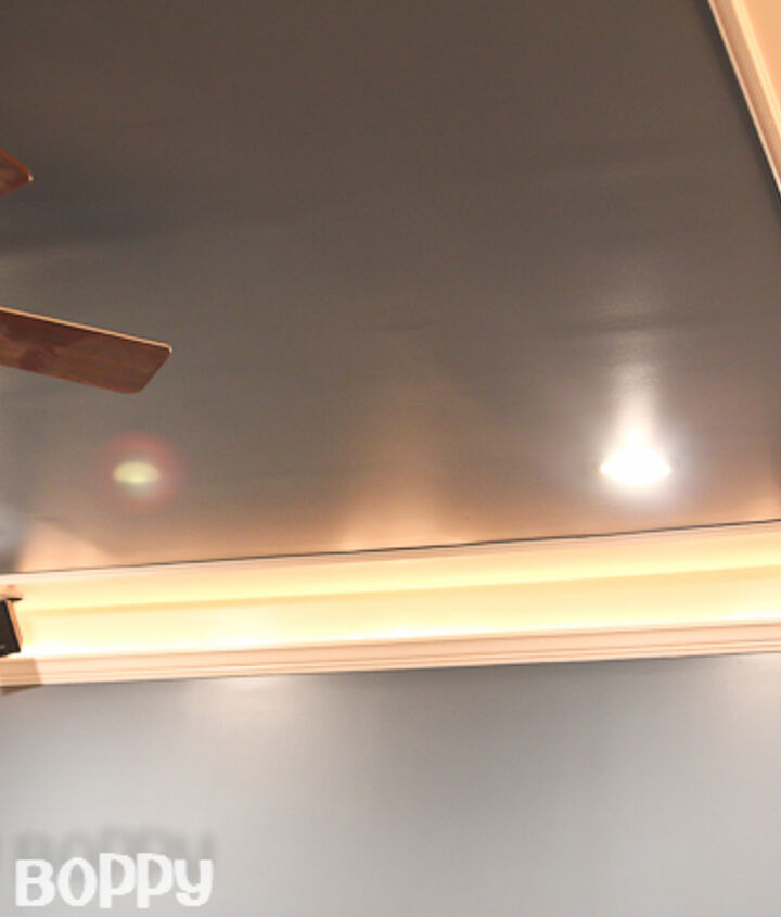 Basement remodel ceiling with rope lighting on dimmers