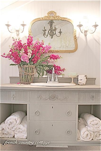 500 little cottage bathroom makeover, bathroom ideas, home decor, Antique dresser became a vanity
