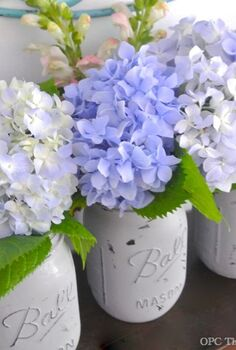 super easy painted mason jars with flowers, crafts, flowers, gardening, home decor, mason jars, I used regular gray latex paint with some added Plaster of Paris to help the paint adhere I brushed on two thin coats of paint to the exterior of the jar
