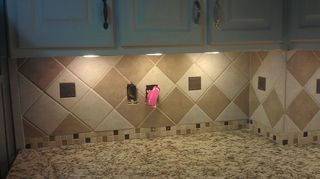 q misery loves company diy not going as expected, kitchen backsplash, tiling, Still have to decide on cabinet pulls so ignore mismatching handles