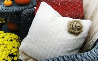 getting cozy for fall sweater pillows with a burlap rose tutorial, crafts, home decor, Easy and inexpensive to make sweater pillows with a burlap rose