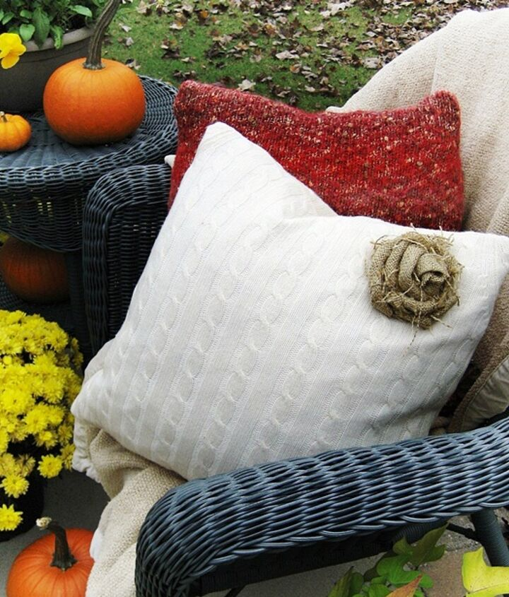 Easy and inexpensive to make...sweater pillows with a burlap rose