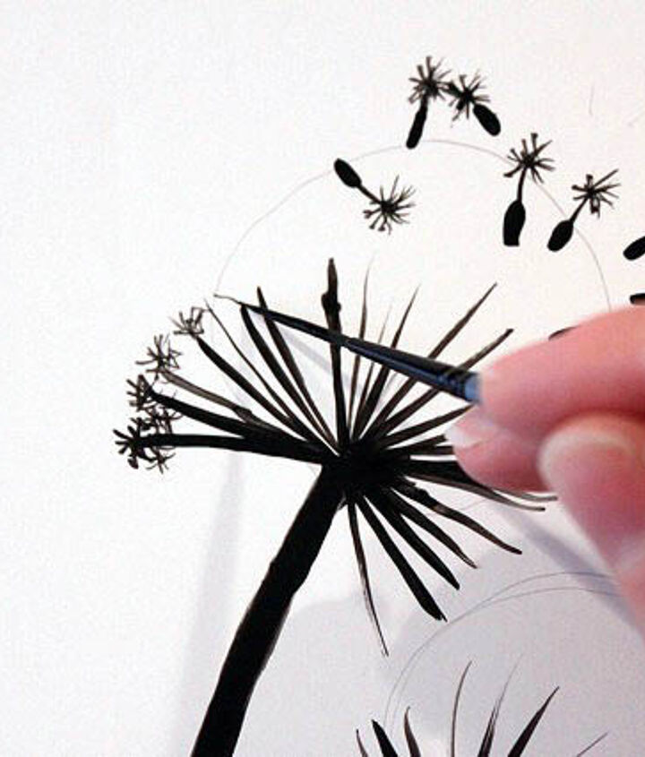 Make an asterisk on the end of each seed stem. Add extra arms until you like how it resembles a dandelion fairy! Keep in mind that these don't have to be perfect. They will be viewed from across the room. So, don't stress out.