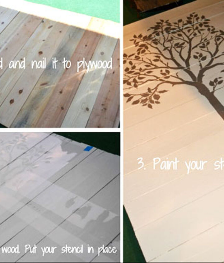 Stenciling wood with the Large Fruit Tree stencil
