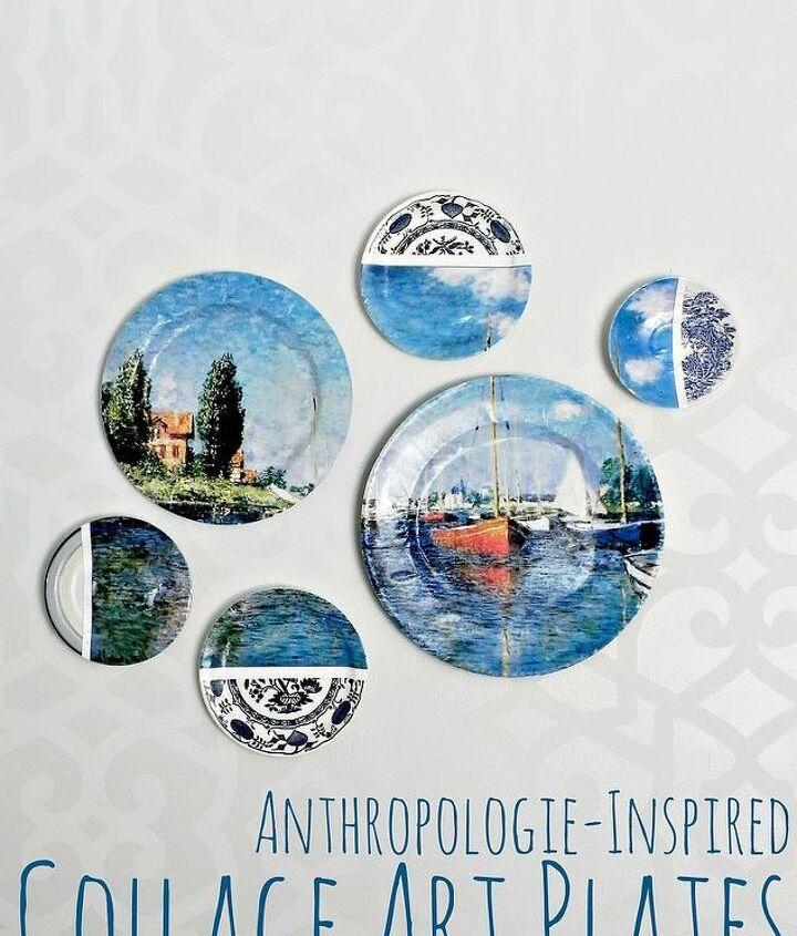 Anthropologie-Inspired Collage Art Plates  http://www.madincrafts.com/2013/04/anthropologie-inspired-collage-art.html