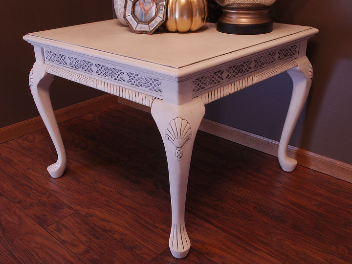 white chalkpainted glazed table, chalk paint, painted furniture