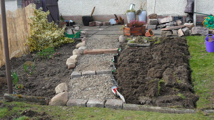 This is me putting the field stones down the edge of the steps.  had to go looking for these round all the farmers fields