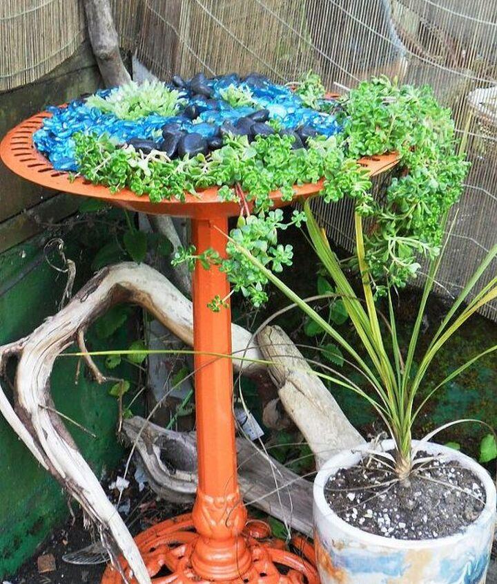 repurposed birdbath, gardening, repurposing upcycling