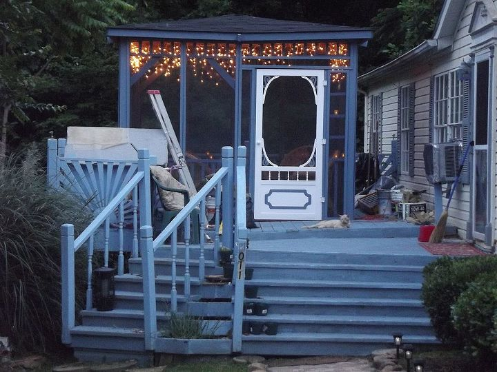 updated and transformed deck to oasis of serenity, decks, diy, how to, outdoor living, porches, woodworking projects, Oh I may cry the perfect gift from the perfect husband