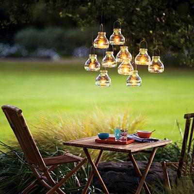 outdoor chandelier, outdoor living, repurposing upcycling