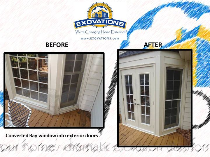 if you have a bay window and you think you are stuck with it think again, doors, patio, BEFORE and AFTER