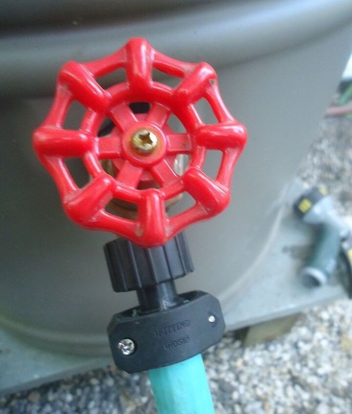 A scrap piece of hose was fitted with hose repair menders ... perfect for watering nearby.