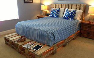 diy glowing palette bed, bedroom ideas, diy, home decor, lighting, painted furniture, pallet, repurposing upcycling, rustic furniture