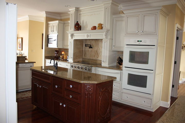 le belle poque s old world kitchen, home decor, kitchen design, kitchen island, Mixing a natural cherry island with painted maple cabinets gives a warm and inviting feeling in the heart of our home