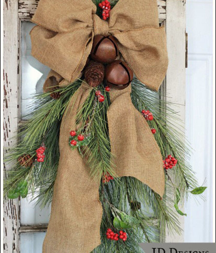 I purchased the rustic bells from the craft store and wired them onto the swag.