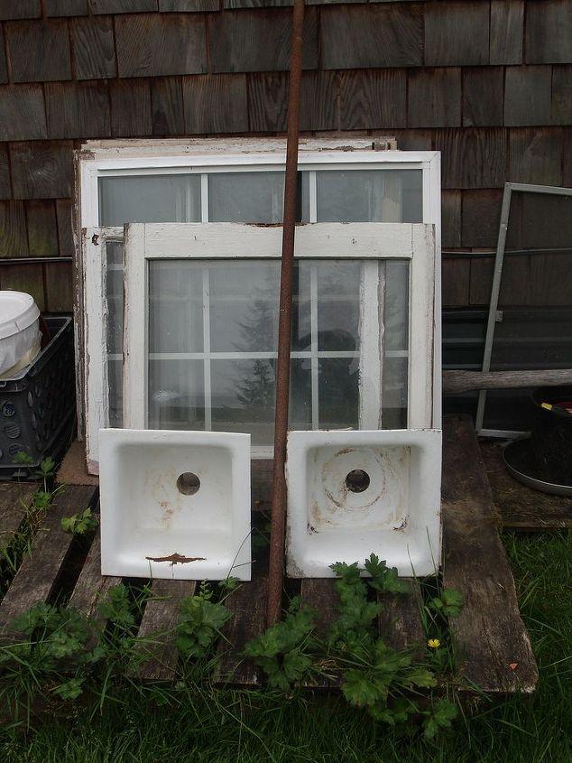 Windows and 2  cast iron sinks