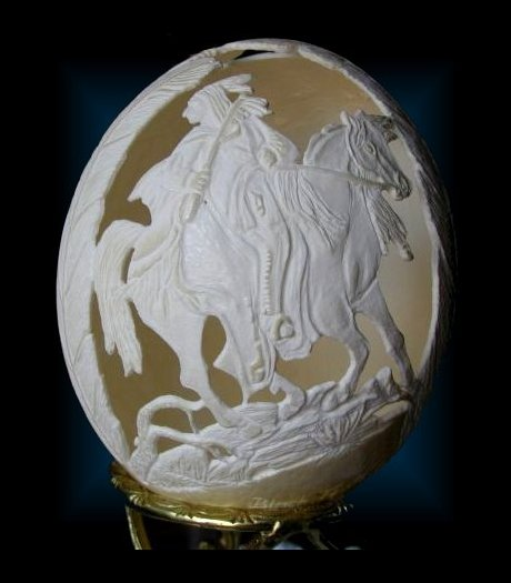 my egg carving, crafts, Black Feather