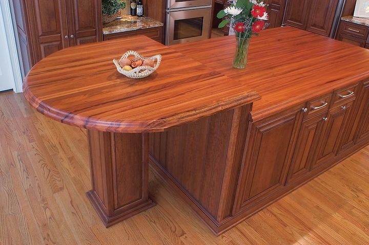 Island Designed For The Chef's Height With Exotic Tigerwood Top - http://www.akatlanta.com/Atlanta-Kitchen-Renovations-By-AK